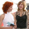 Fekla Tolstaya with Oksana Kotova who passed two selection rounds[Press for large view]